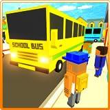 Cube Craft Pixel School Bus 3D