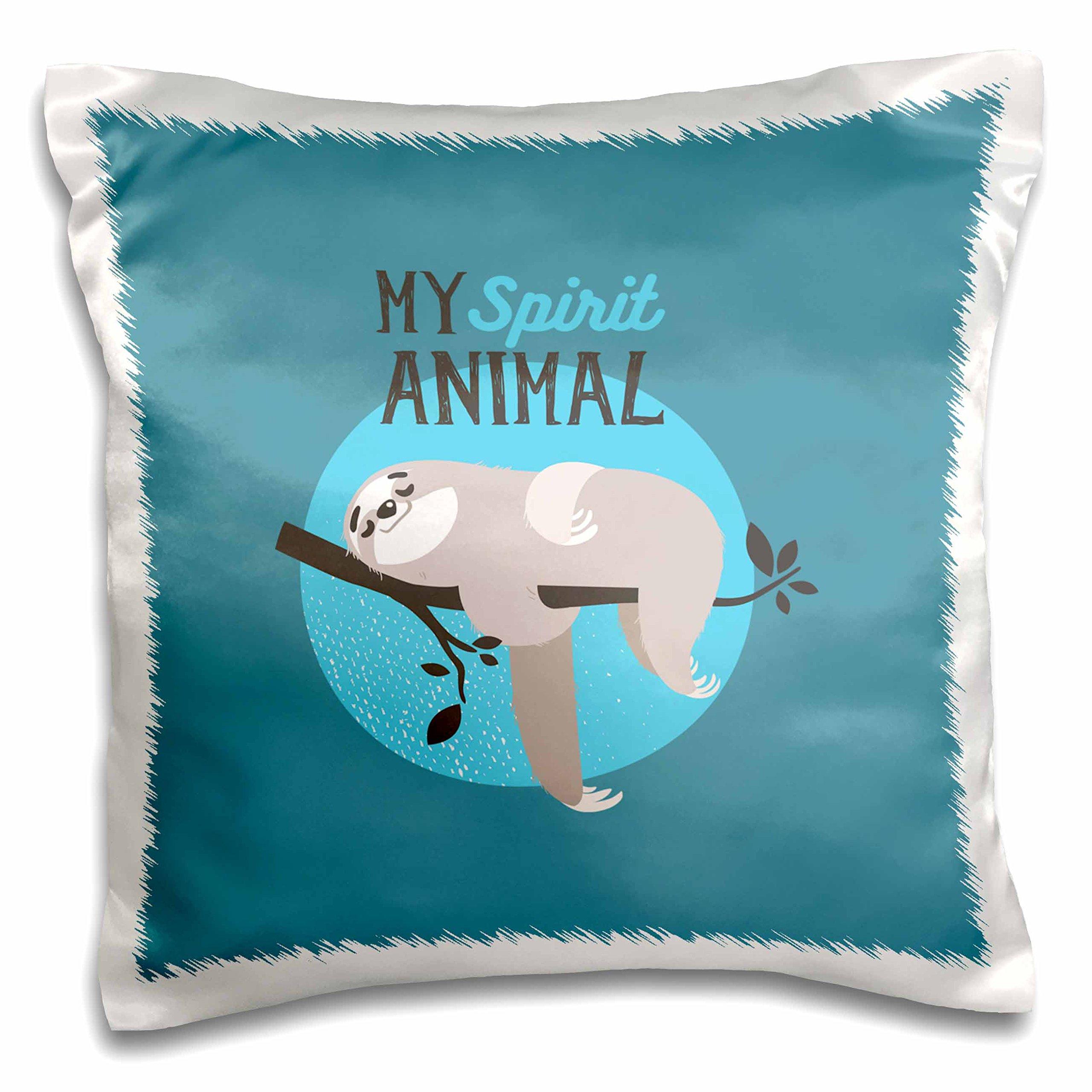 3dRose My Spirit Animal-Sloth Sleeping on Tree-Cute Typography Pillow Case, 16 x 16''