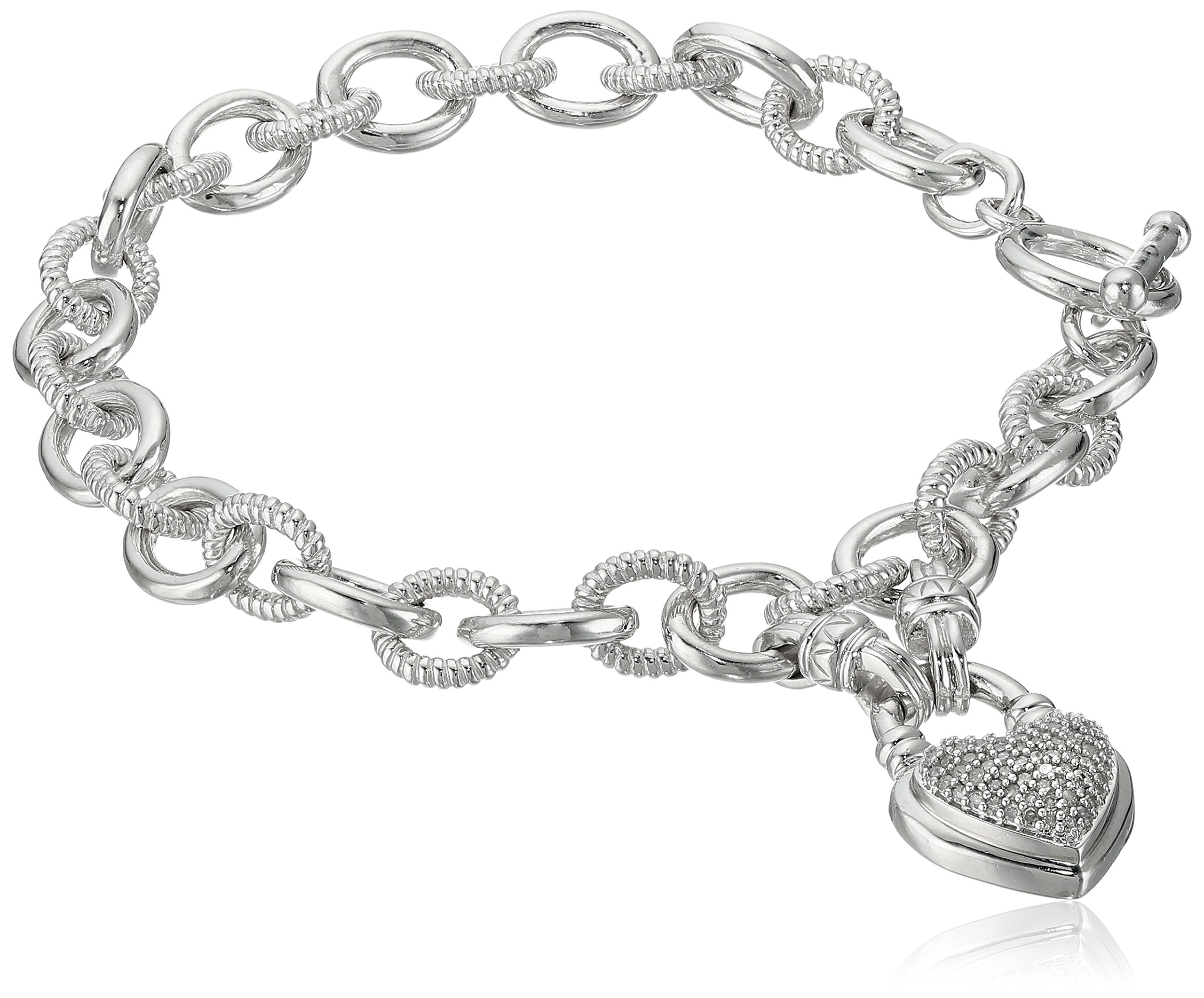 Sterling Silver with White Diamond Heart Tag Charm Bracelet (1/4cttw, I-J Color, I3 Clarity), 7.5''