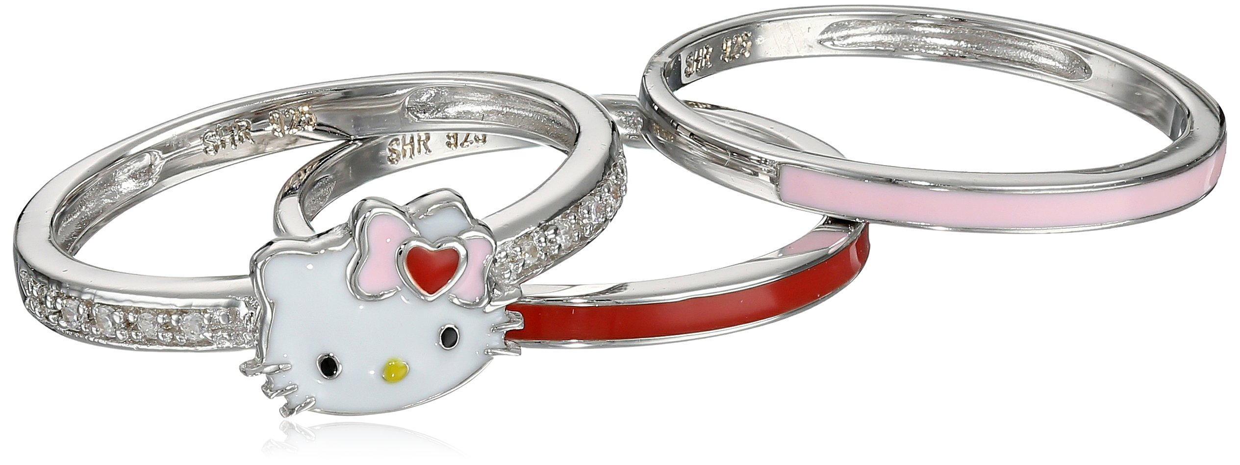 Hello Kitty Sterling Silver Heart Bow Enamel Swarovski Crystal Shank and Enamel Bands Stackable Ring, Size 7