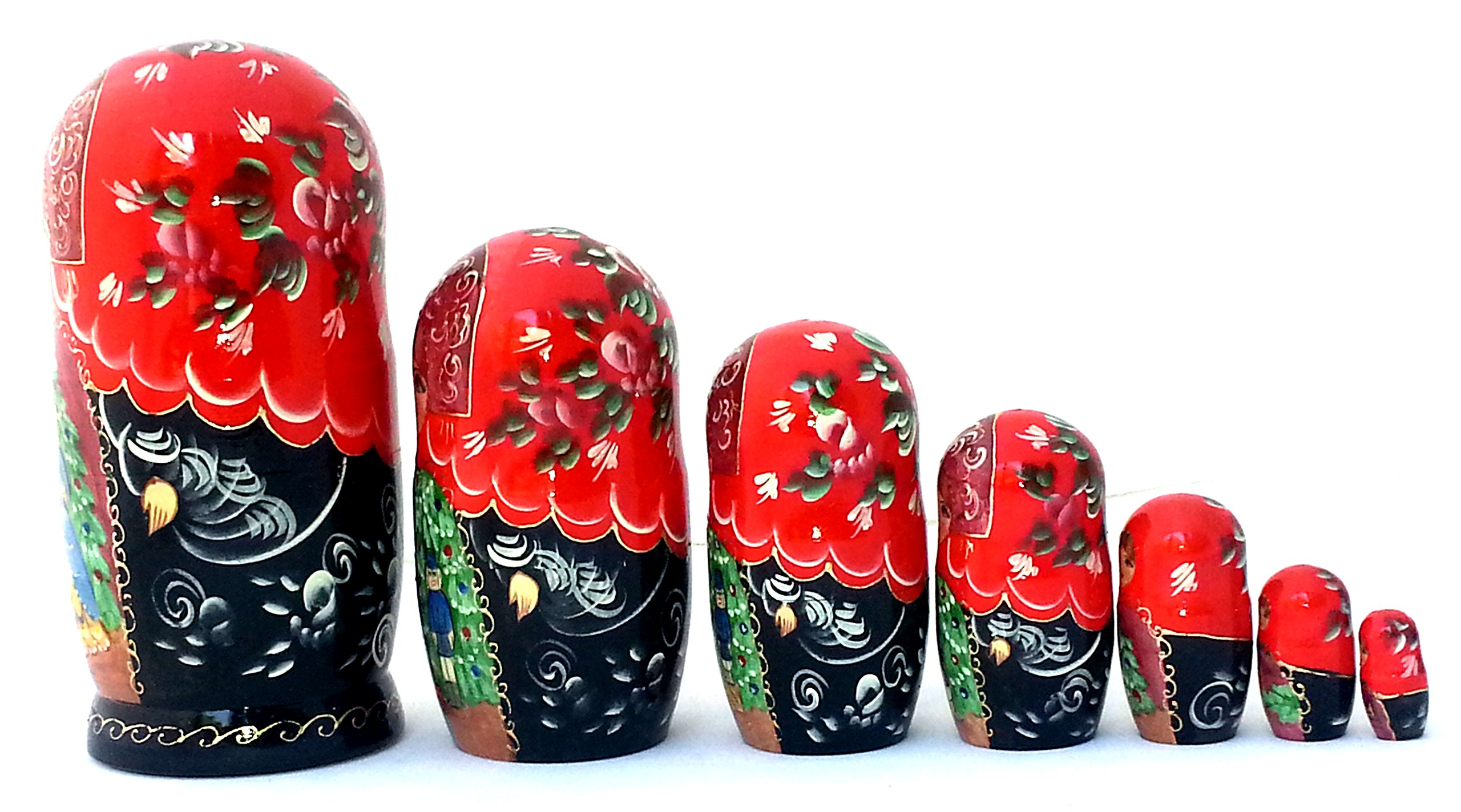 Nutcracker fairy tale Russian Hand Carved Hand Painted Nesting 7 piece DOLL Set 7'' tall / ballet by BuyRussianGifts (Image #3)