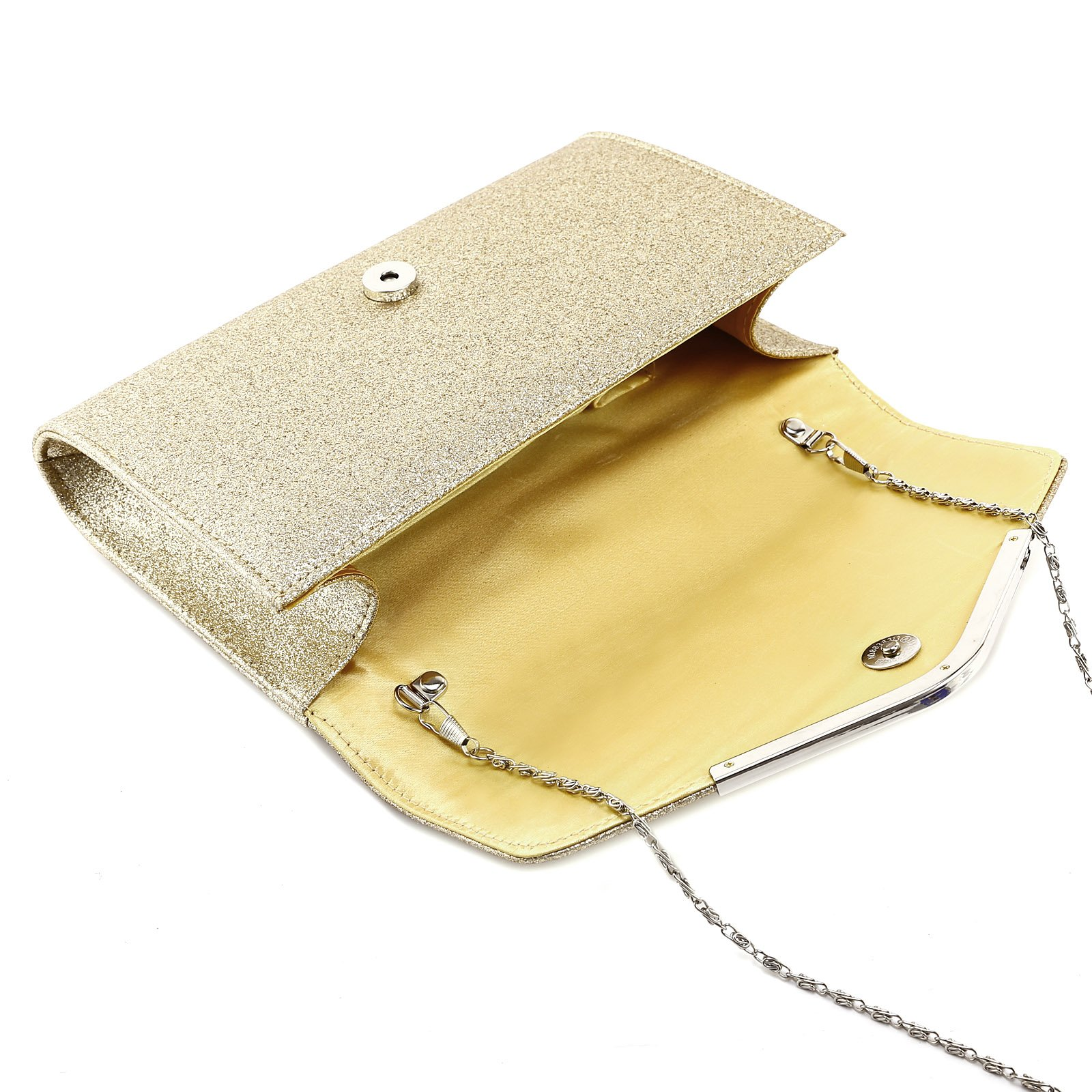 Anladia Metal-Tipped Purse Sparkle Glittered Envelope Clutch Bag Bridal Prom Party Purse by Anladia (Image #2)