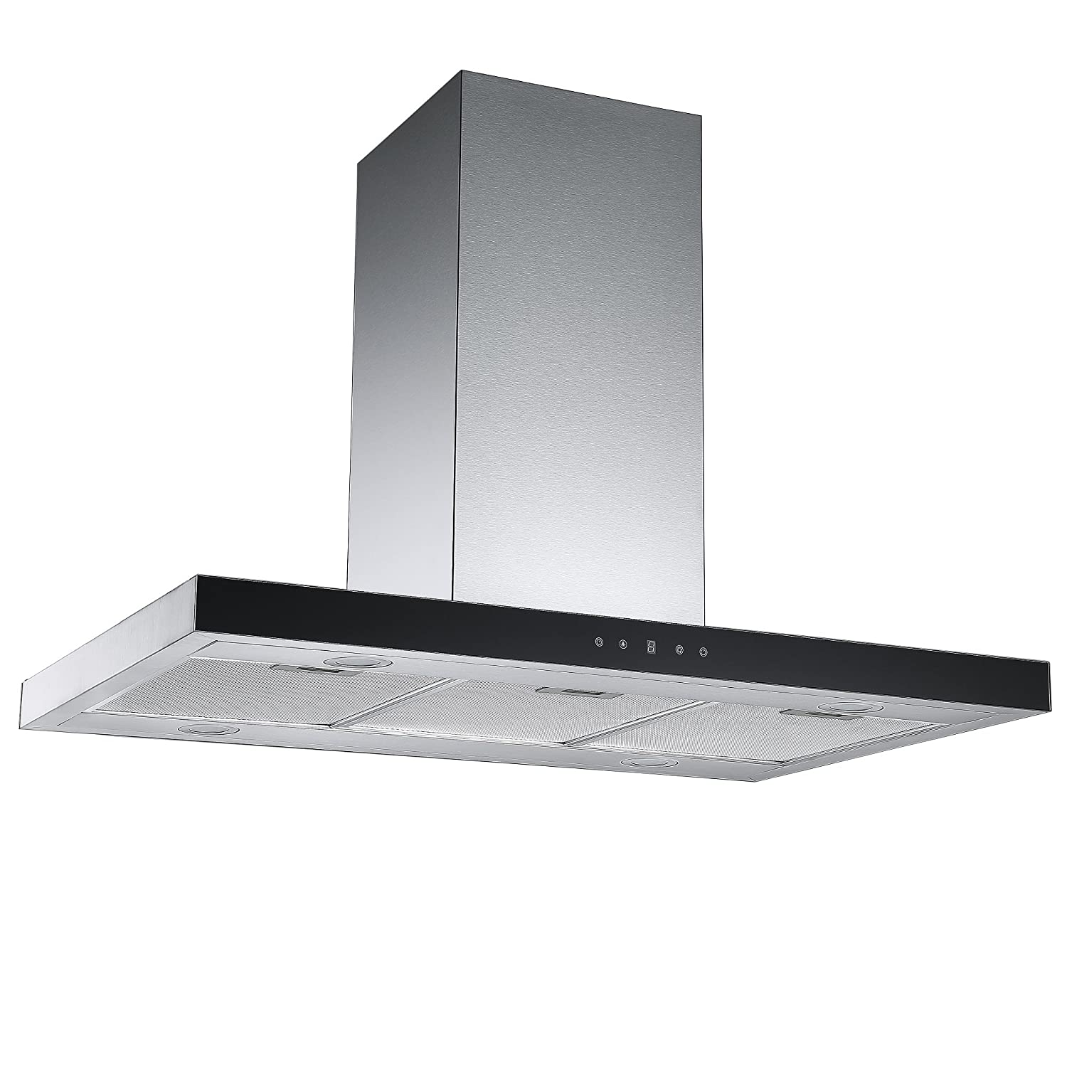 Cookology IDLINT901SS 90cm Linear Island Chimney Cooker Hood in Stainless Steel | Ceiling mounted Extractor Fan [Energy Class C]