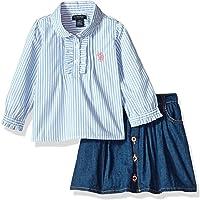 U.S. Polo Assn. Girls' Fashion Top and Skort Set