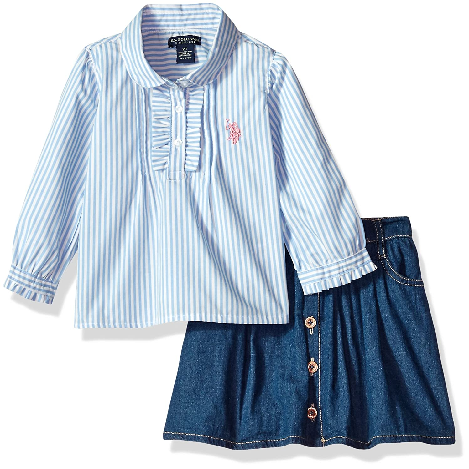 U.S. Polo Assn. Girls' Fashion Top and Skort Set