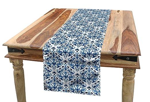 ABAKUHAUS Azul Camino de Mesa, Diseño De Estilo Victoriano Indigo ...