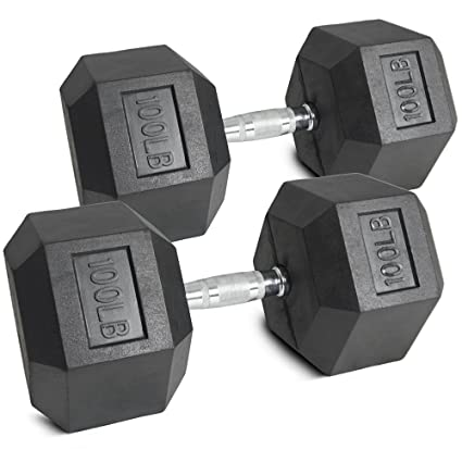 Pair 100 lb Black Rubber Coated Hex Dumbbells Weight Training Set 200 lb  Fitness