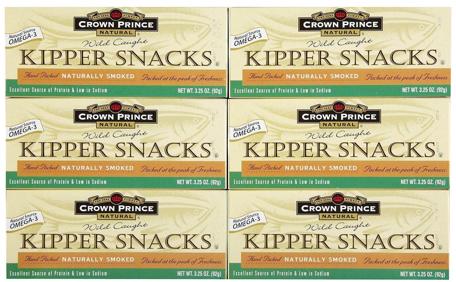 Crown Prince Natural Kipper Snacks Low in Sodium, 3.25 oz, 6 pk