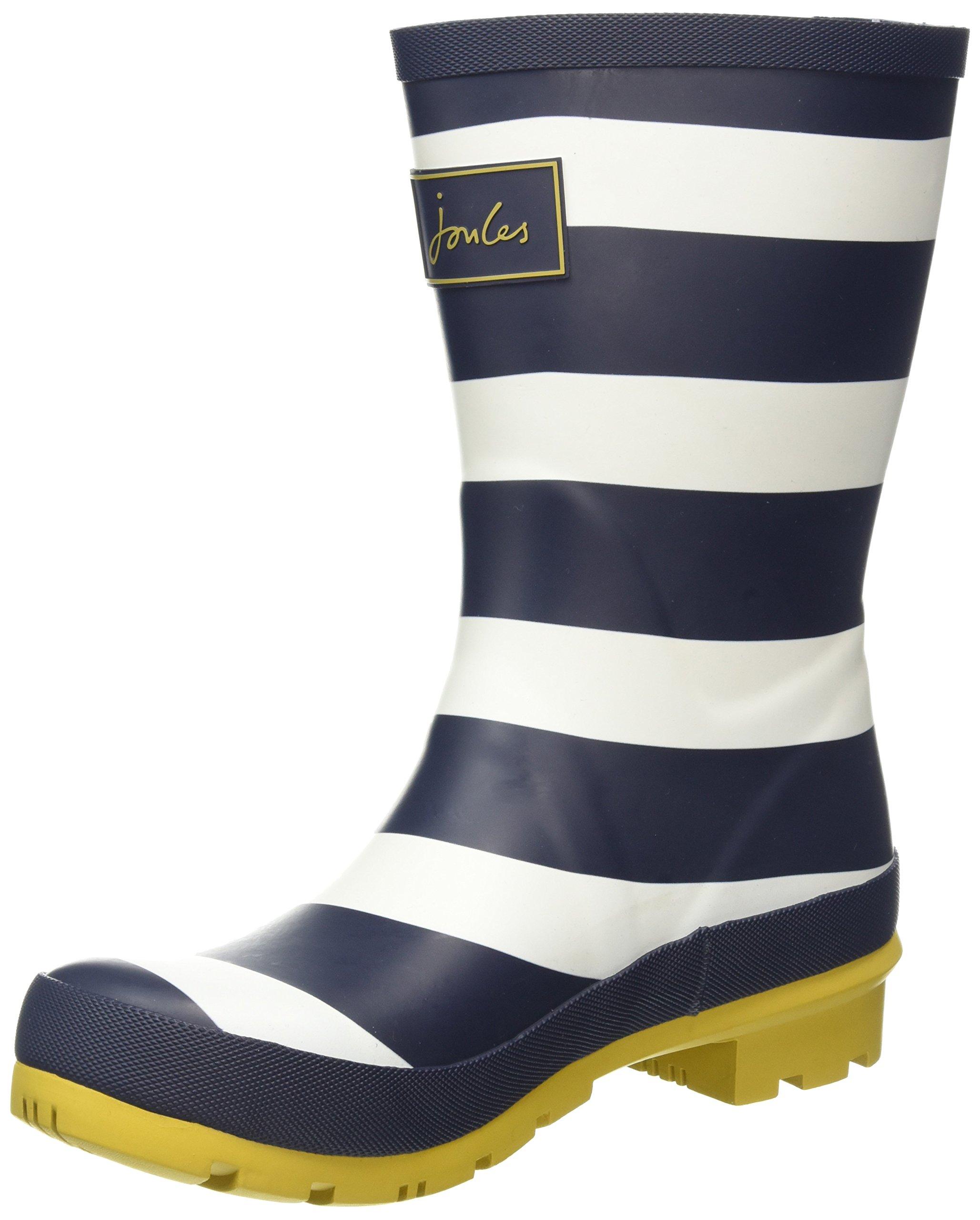 Joules Women's Molly Welly Rain Boot (7 B(M) US, Navy Wide Stripe)