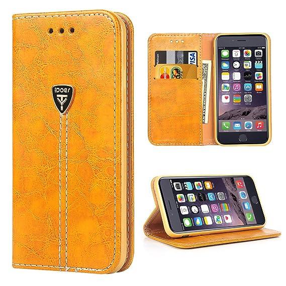 wholesale dealer 0c79f ba119 iPhone 6s Flip Case, iPhone 6 Case Wallet, iDoer Slim Magnetic Flip Leather  Wallet Built-in 2 Credit Card Holder, Cash Pocket, Flip Stand Case Cover ...
