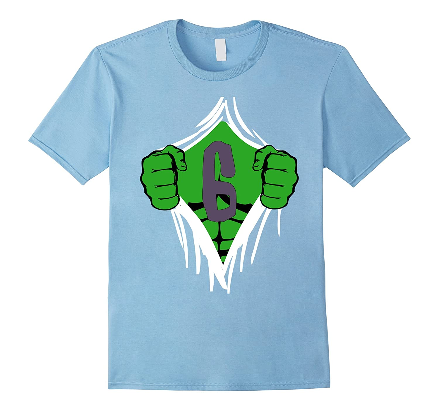 Green Man Chest Superhero Birthday Shirt For 6 Year Old Boys RT