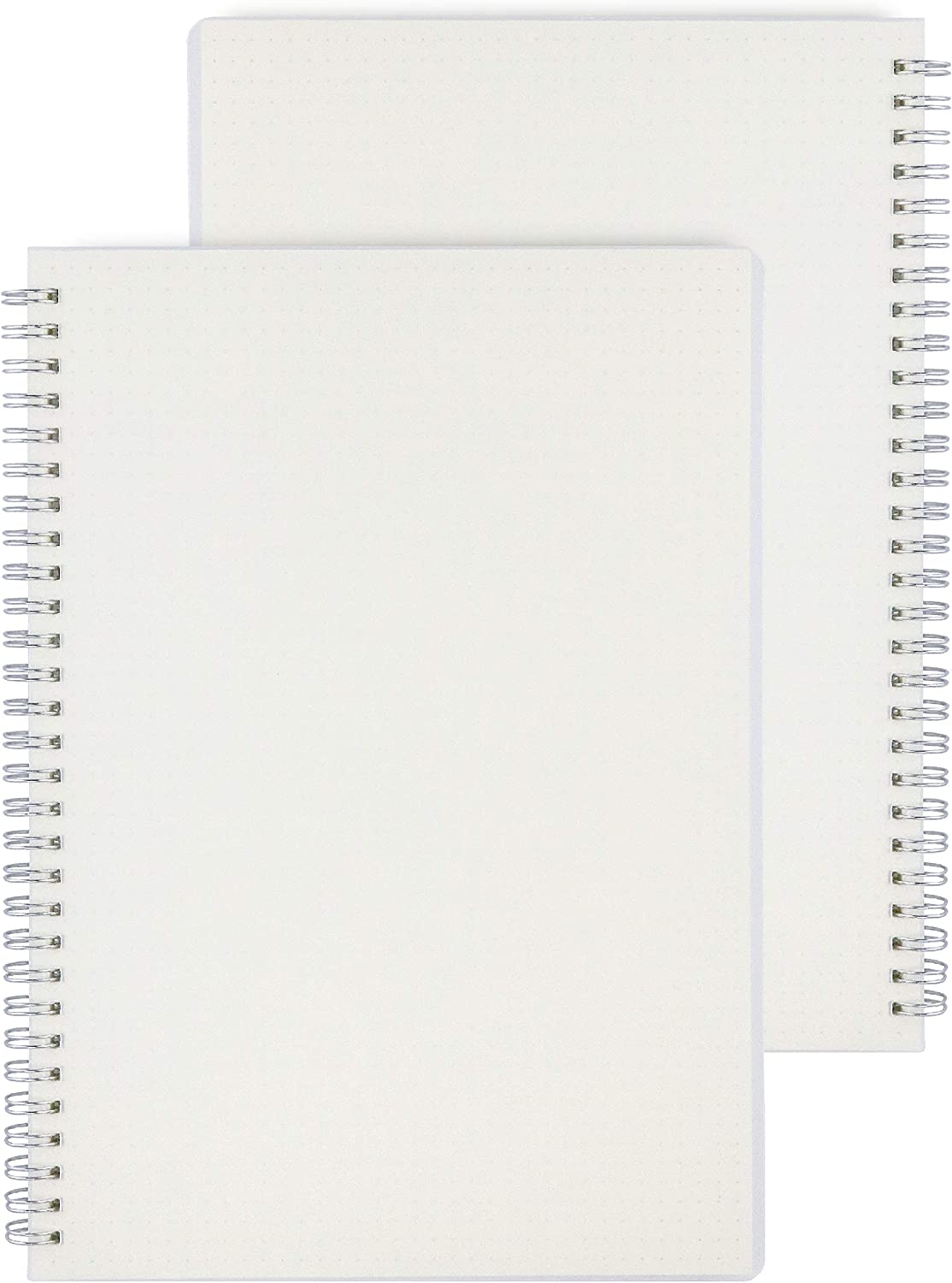 Miliko Transparent Hardcover A5 Size Dot Grid Wirebound/Spiral Notebook-2 Per Pack (Dot Grid), A5 8.27inX5.67in : Office Products
