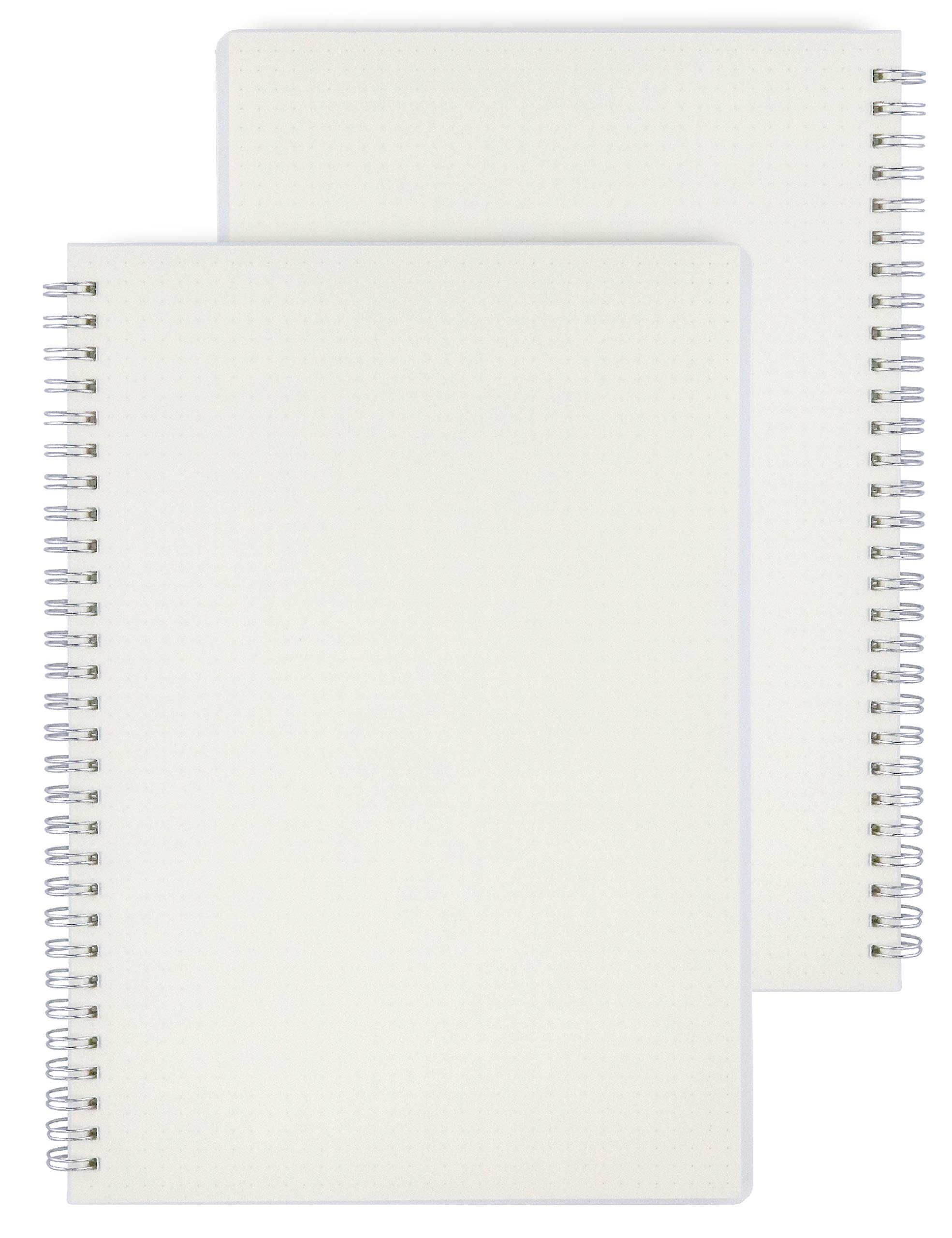 Miliko Transparent Hardcover A5 Size Dot Grid Wirebound/Spiral Notebook-2 Per Pack (Dot Grid), A5 8.27inX5.67in by MILIKO