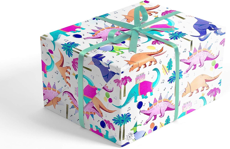 X//Large 1M x 70cm Flat Sheet Christmas Gift Dinosaur Wrap Paper /& 1 Gift Tag