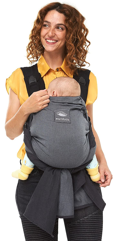 Manduca DUO - Hybrid aus Babytrage & Tragetuch, Innovatives Click & Tie System, Durchrutzschutz fürs Baby, Abnehmbarer Hüftgurt, Bio-Baumwolle und Mesh, ab Geburt bis 15kg (grau grau)