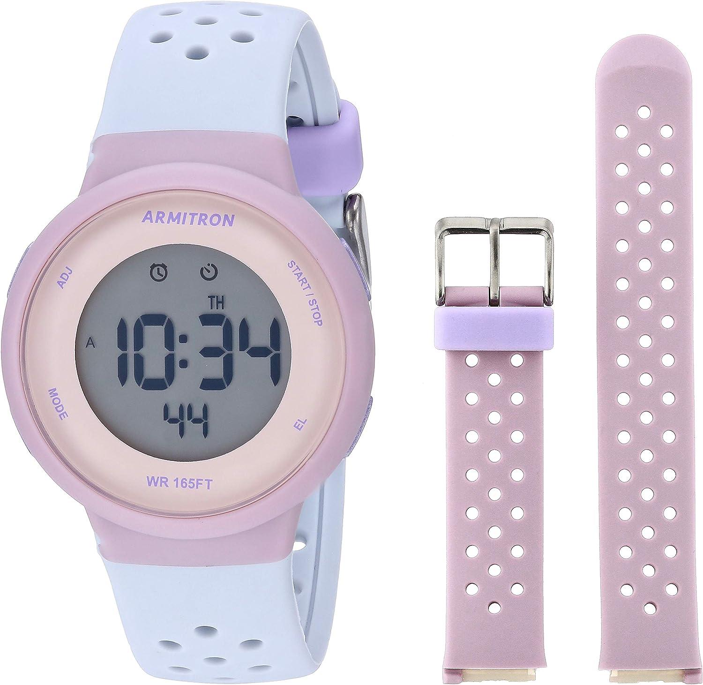 Armitron Sport Unisex Digital Chronograph Interchangeable Silicone Strap Watch, 45 7124
