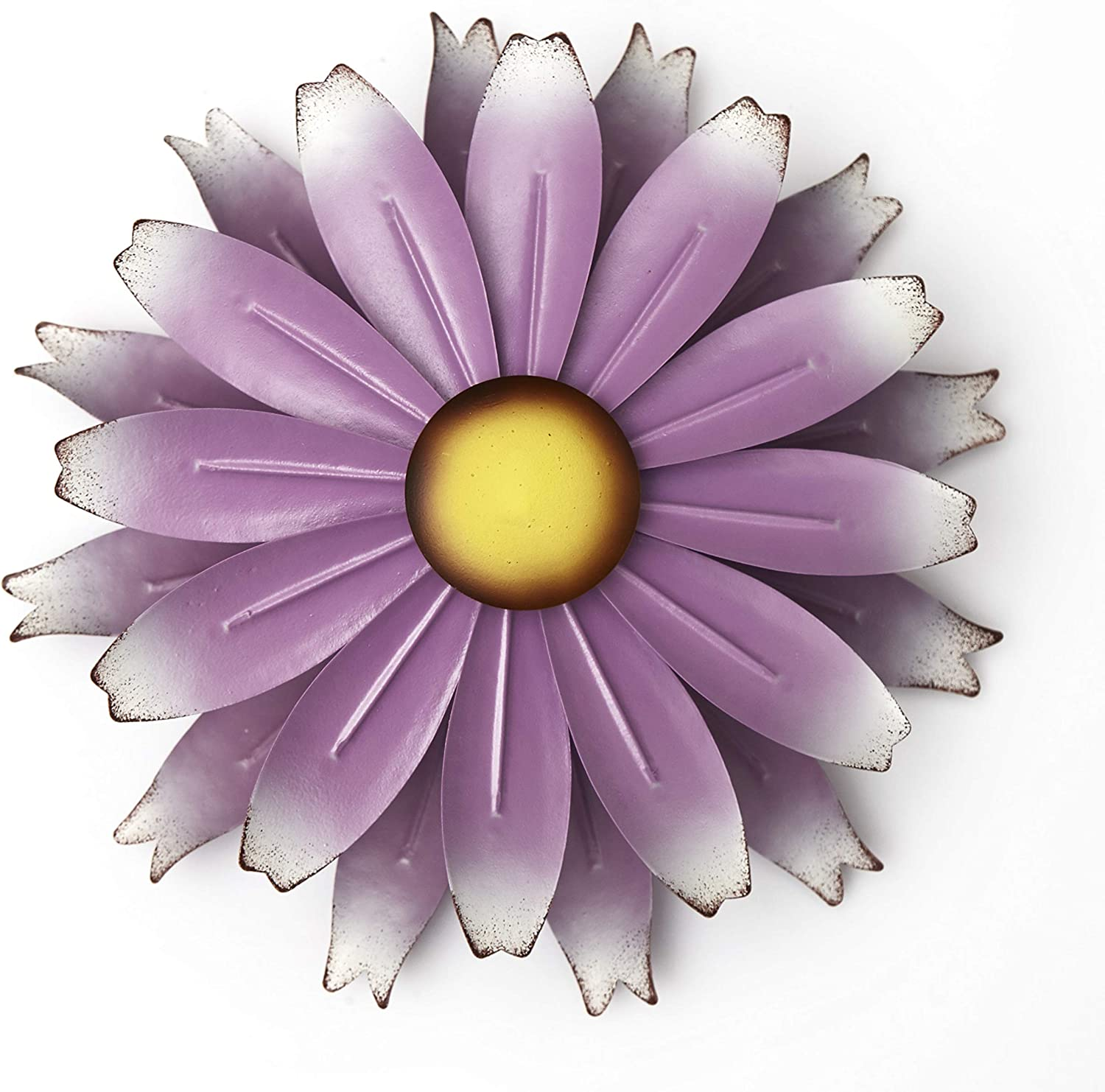 The Lakeside Collection Metal Flower Spinner for Walls - Kinetic Floral Pinwheel Windspinner - Purple