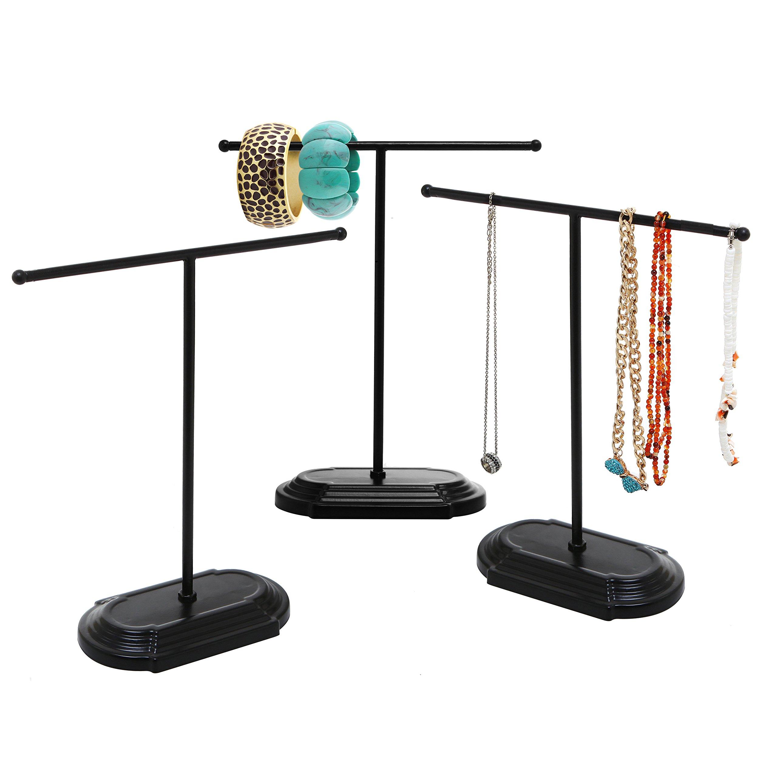 Modern Design Matte Black T-Bar Jewelry Tree Display Stands Organizer w/Square Base, Set of 3