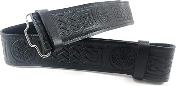 Gents Scottish Authentic Leather Thistle Belt And Thistle Buckle Medium XL