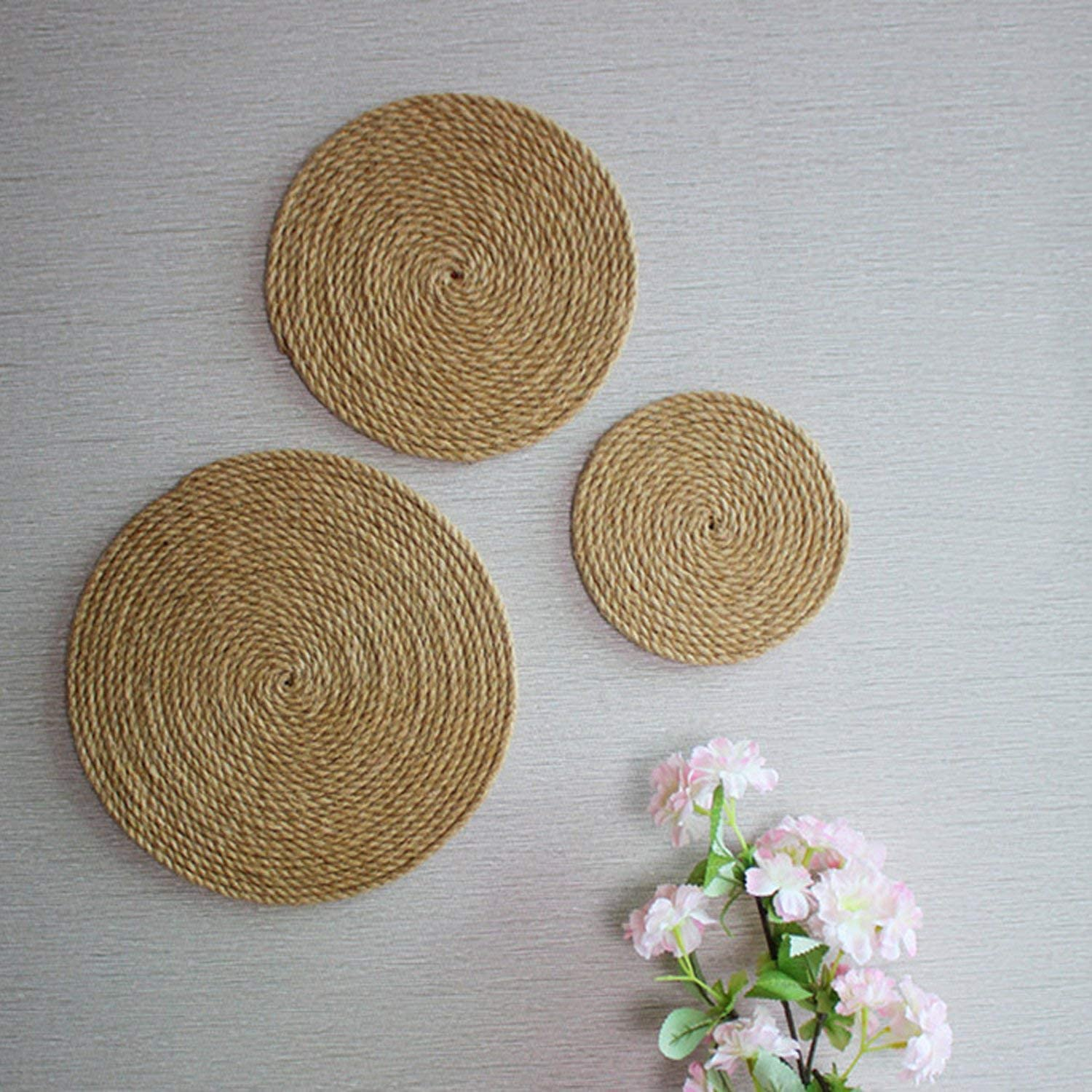 Office and Hotel Primitive Country Style D/écor CVHOMEDECO 12//10//8 Inch Indoor DIY Wall Art Sculptures for Home Rustic Hemp Rope Round Disc for Wall Hanging Set of 3