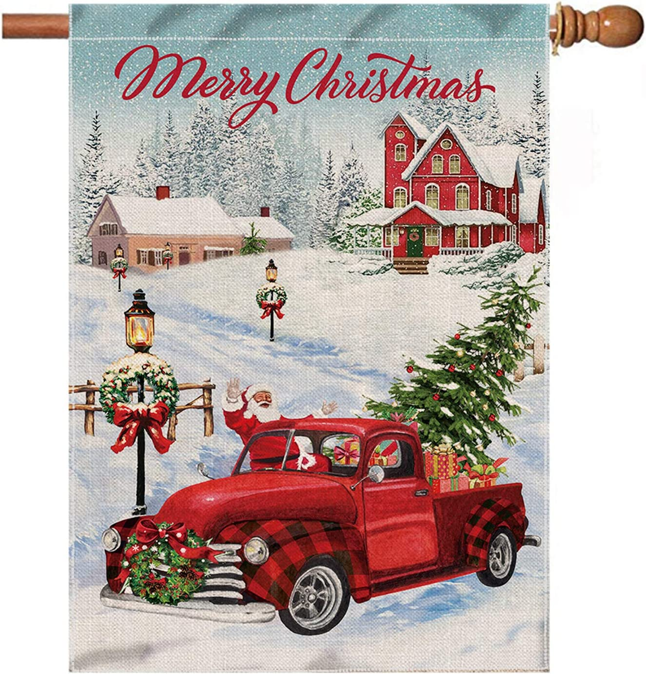 Hexagram Christmas House Flag 28 X 40 Inch Double Sided Red Truck Burlap Flags For Christmas Outdoor Decor Winter Holiday Decorative Yard Large Flags Garden Outdoor