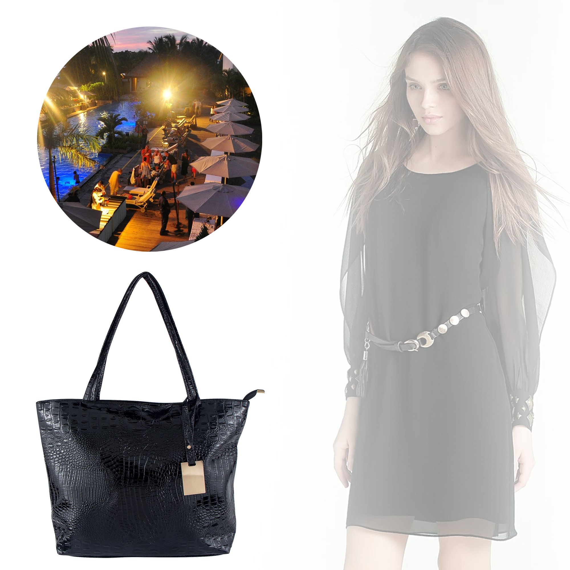 Bagood Womens Crocodile Pattern PU Leather Casual Shopping Handbags High Capacity Shoulder Ladies Soft Bag for Wedding Bridal Prom Party Black by Bagood (Image #2)