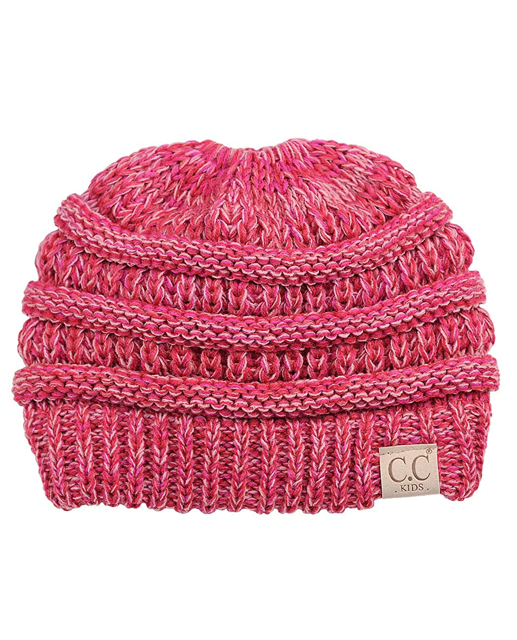8f1b2f0b959 C.C BeanieTail Kids' Children's Soft Cable Knit Messy High Bun Ponytail  Beanie Hat, 3 Tone Coral at Amazon Women's Clothing store: