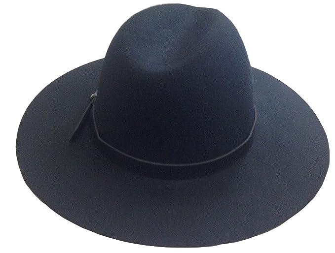 Image Unavailable. Image not available for. Color  YueLian Wool Caps Wide  Brim Fedora Hats Black ec19575e4e8