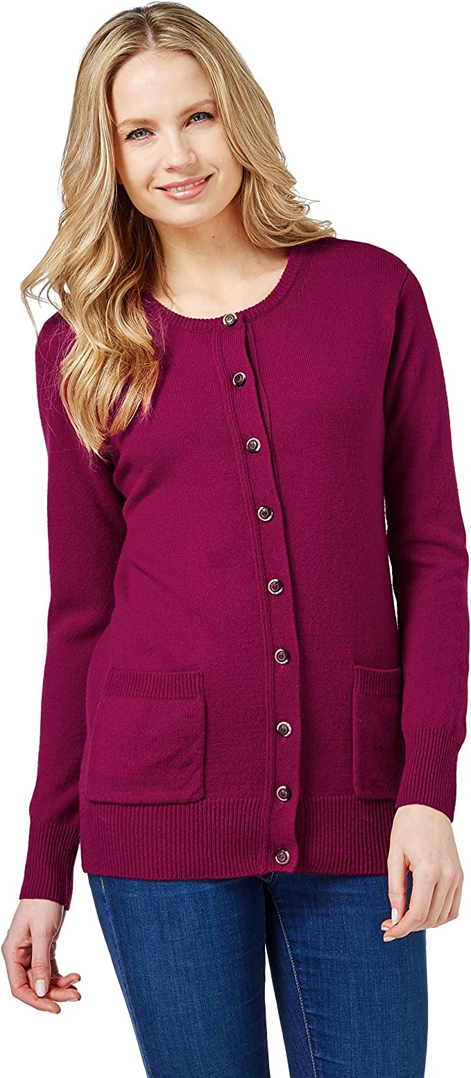 aggiungere a Metafora predire  WoolOvers Womens Lambswool Crew Neck Cardigan Burgundy Wine, S at Amazon  Women's Clothing store: Cardigan Sweaters