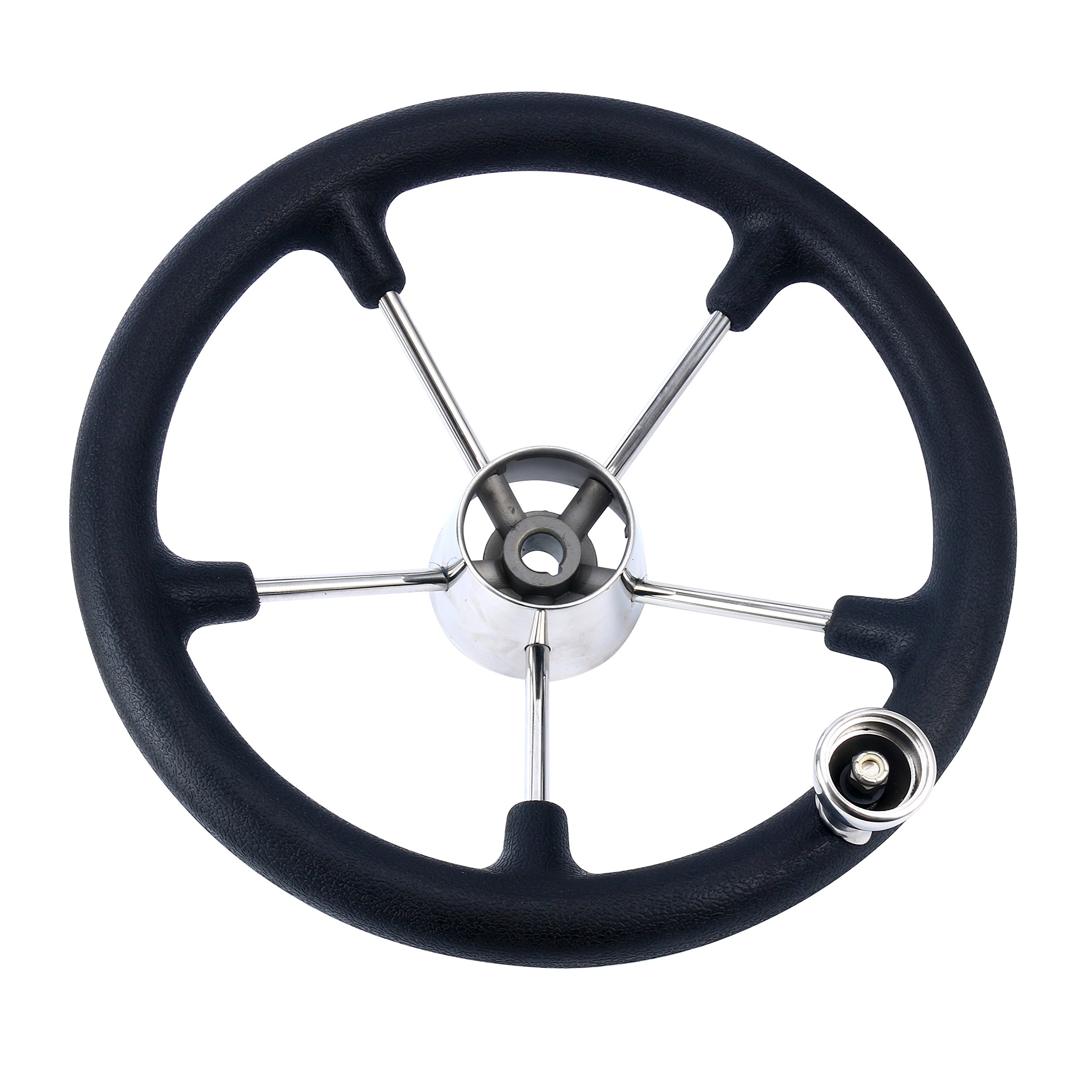 Amarine-made 13-1/2 Inch Boat Marine 5 Spoke Destroyer Steering Wheel with Black Foam Grip and Knob by Amarine-made (Image #2)