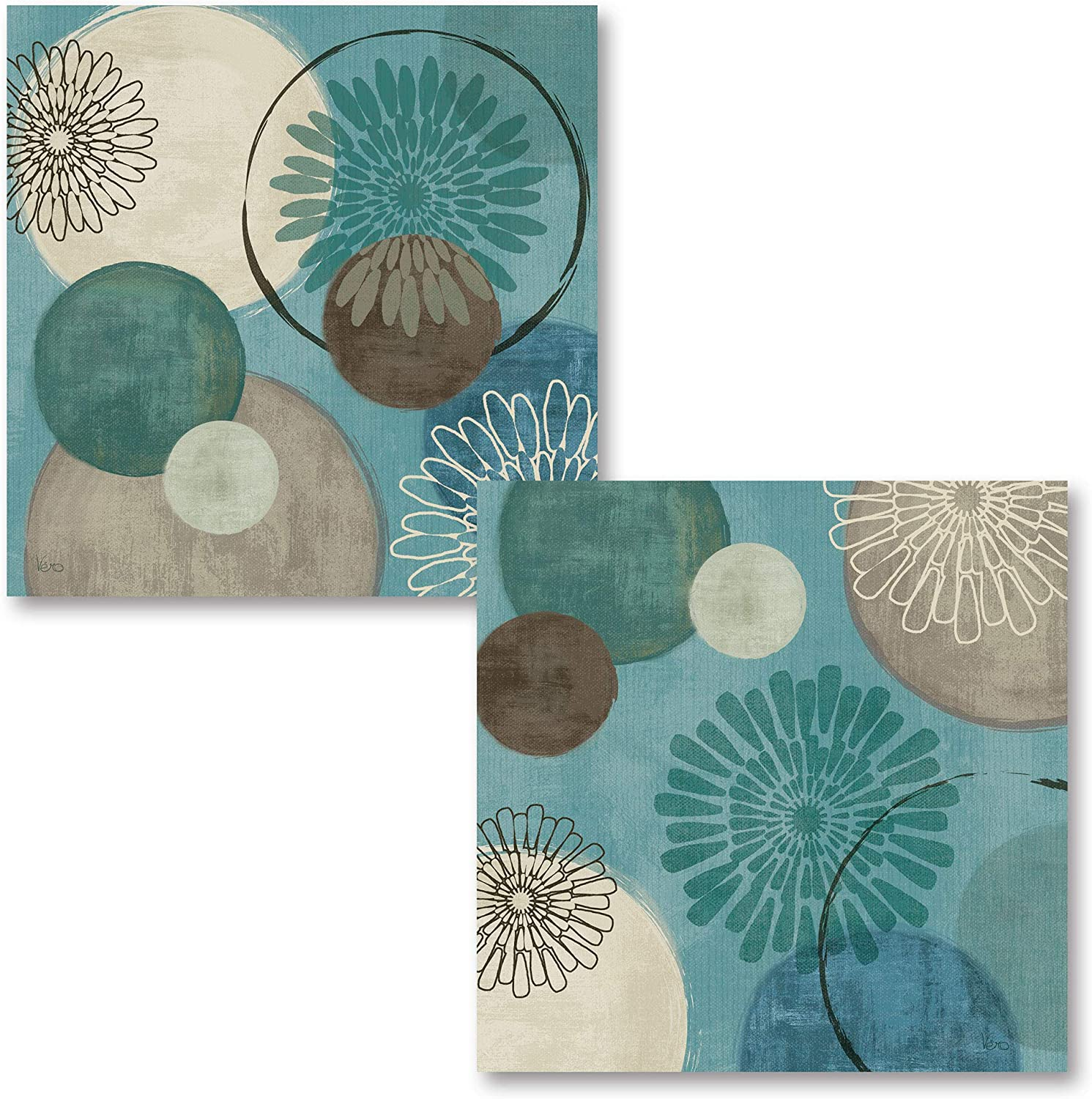 Gango Home Décor Lovely Teal and Brown Abstract Circle Patterned Set by Daphne Brissonnet; Two 12x12in Poster Prints