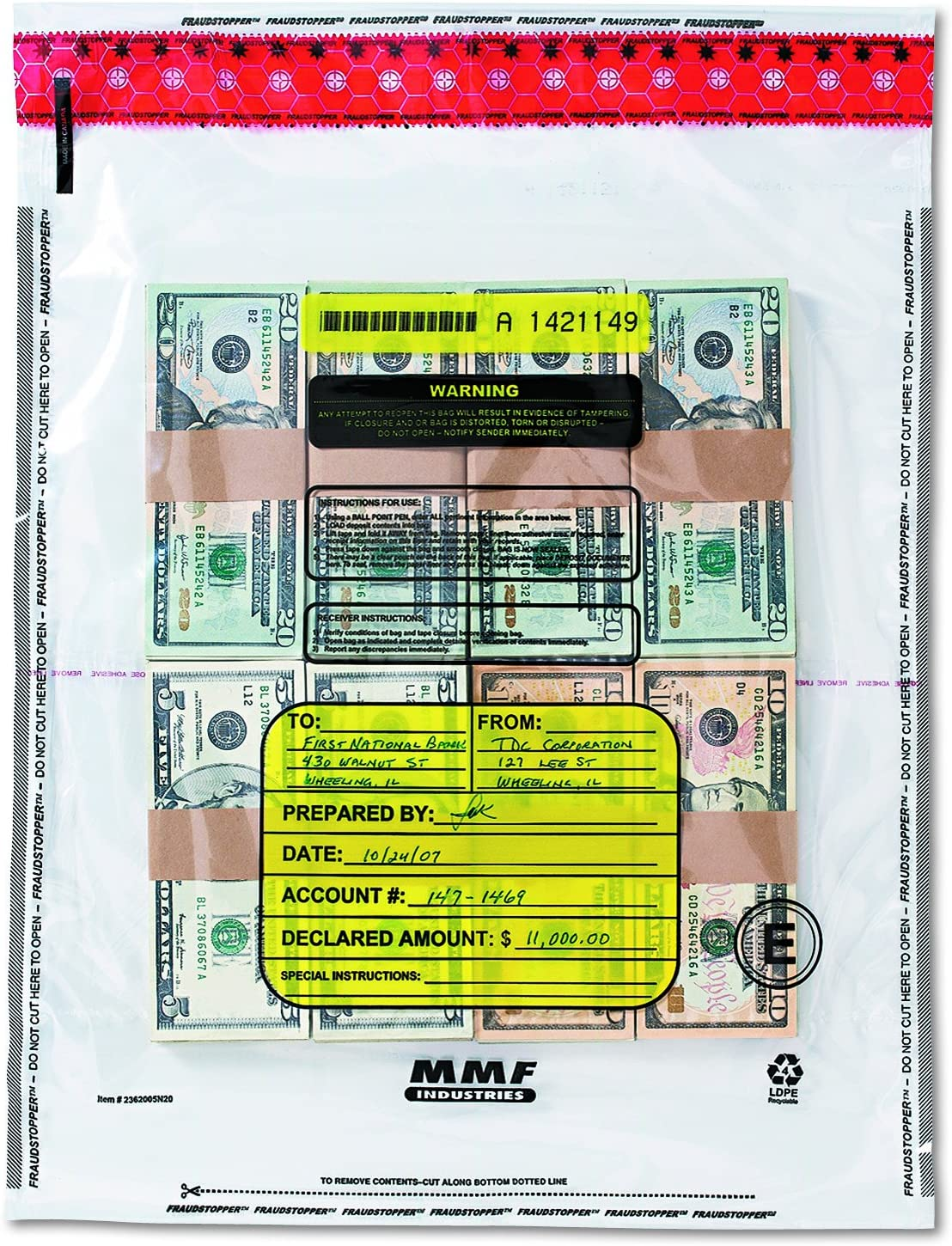 MMF Industries 4 Bundle Capacity Tamper-Evident Cash Bags, 15 x 20, Clear, Box of 250 Bags, (2362005N20)