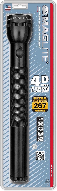 MAGLITE 4 D Cell Blister Pack Linterna incandescente, Unisex, Negro, 37 cm