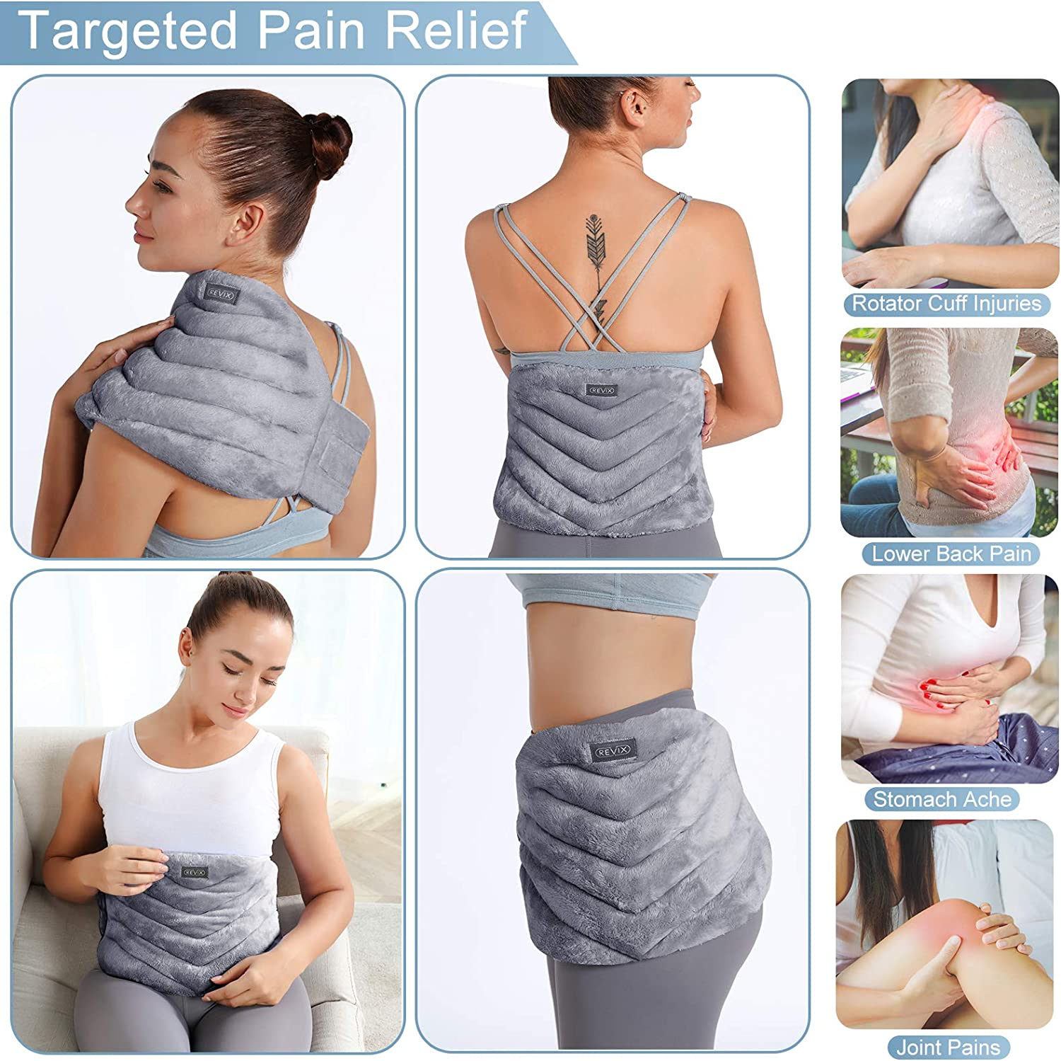 Microwavable Heating Pad for Back Pain Relief, Extra Large Microwave Heating Pack with Moist Heat for Waist, Stomach, Shoulder and Neck, Unscented Hot or Cold Pack, Gray
