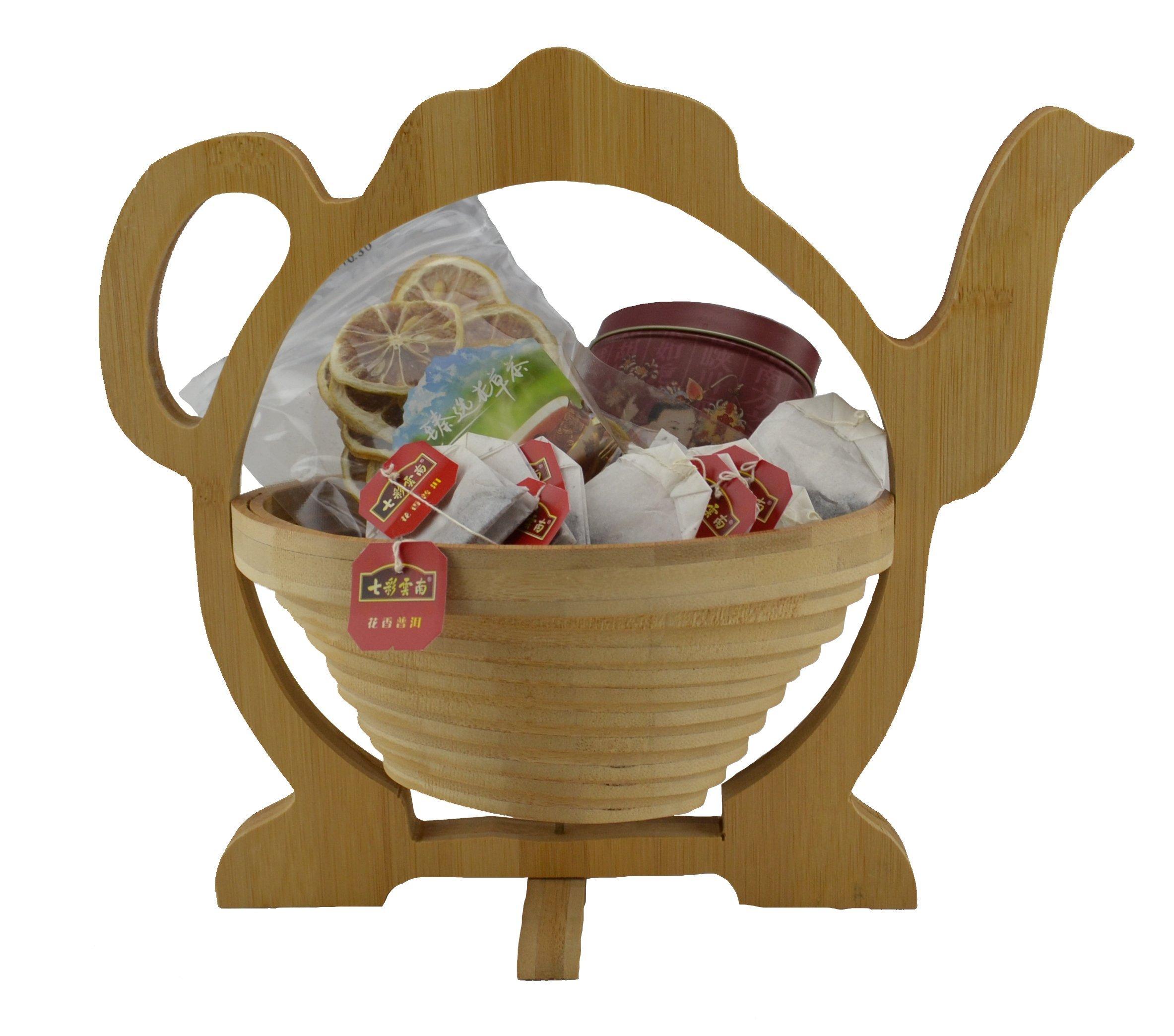 The Original Source 20800 Foldable Bamboo Fruit Baskets Tea Pot, Tan