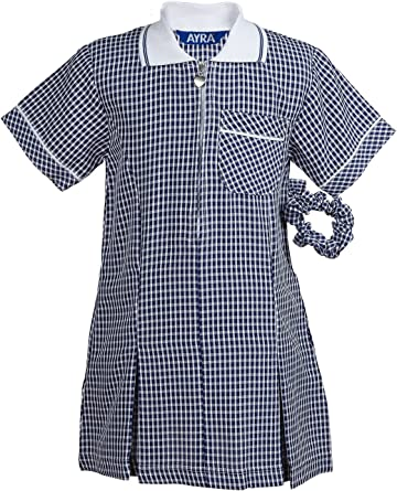 Zip Front School Pleated School Gingham Dress from Age 3 to 14
