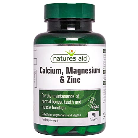 Natures Aid Calcium, Magnesium & Zinc, 90 tabletas. Suitable for Vegans.
