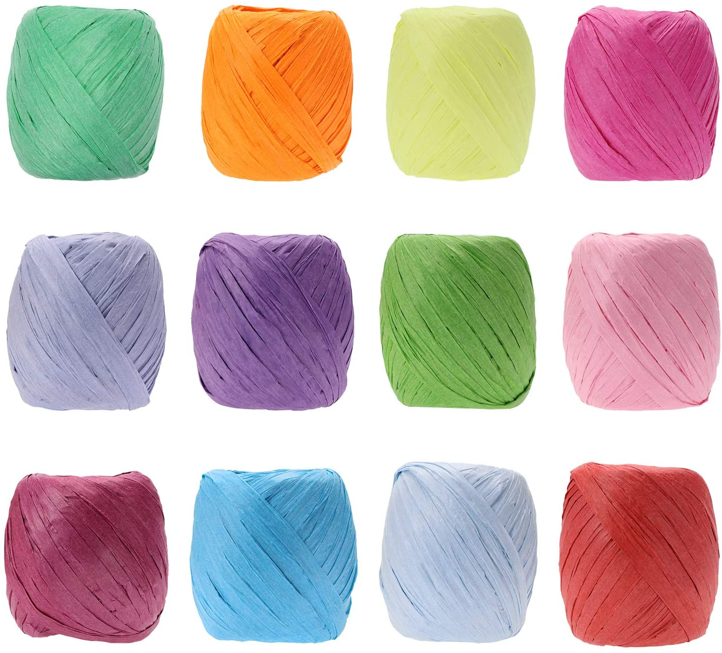 Raffia Paper Ribbon Bows, Penta Angel 12 Rolls 787 Feet Raffia Twine String for Christmas Valentine's Day Party Gifts Wrapping Florist Bouquets DIY Craft Decoration Weaving, 12 Colors