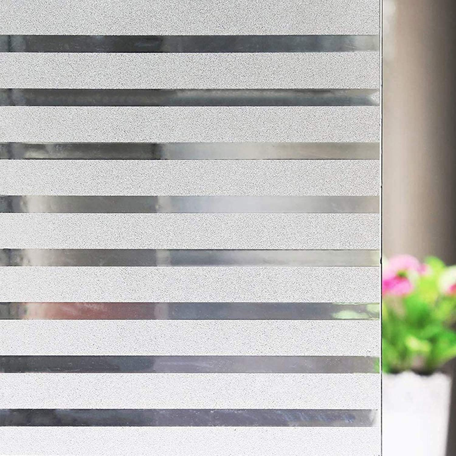 Niviy Frosted Window Film Privacy Window Sticker Non Adhesive Window Vinyl Film Removable Static Cling Window Film UV Protection Striped Pattern for Home Office 35.4 x 118 Inches