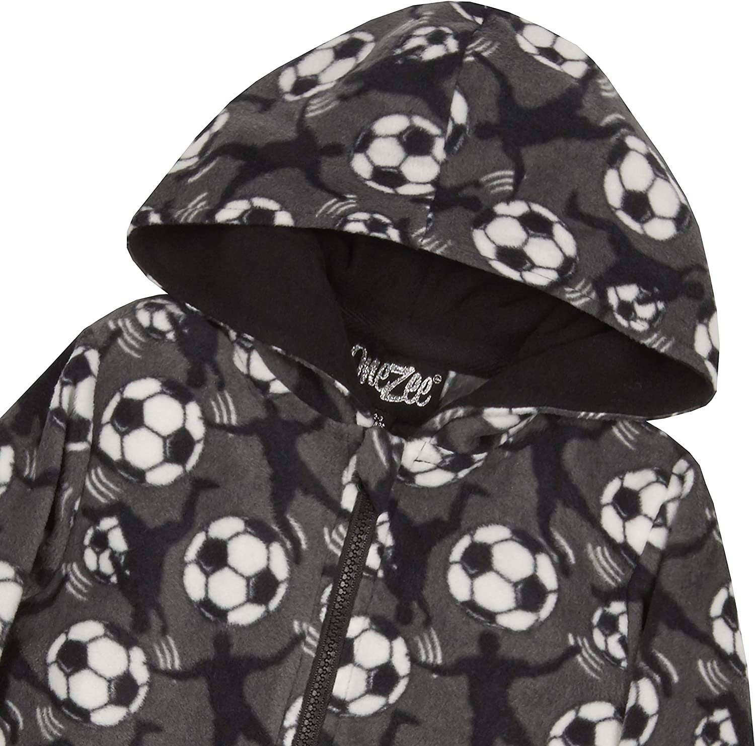 Boys Football Design Fleece Hooded Onesie Grey
