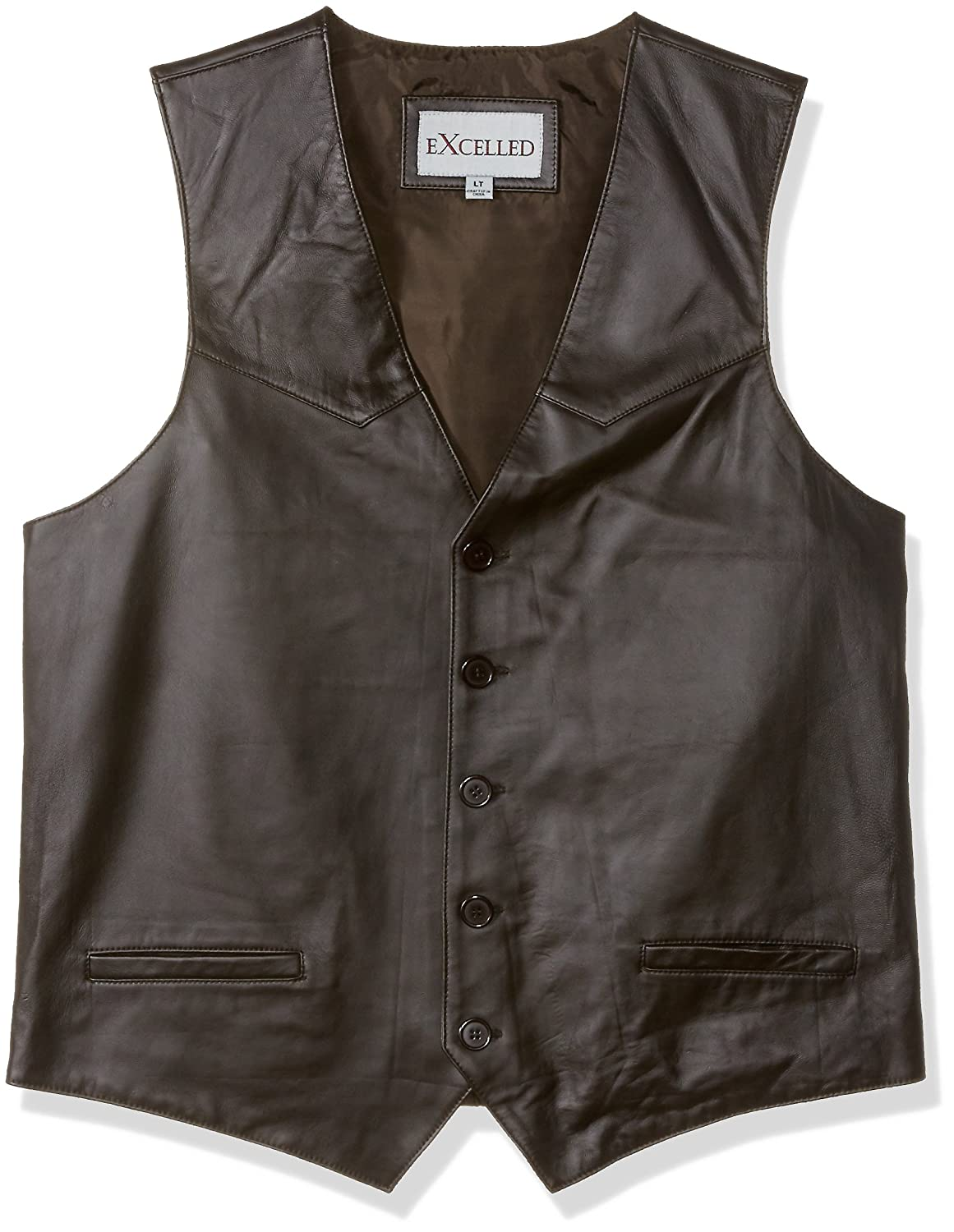 Excelled Men's Tall Size Premium Soft Lambskin Leather Vest Excelled Apparel 3070TM