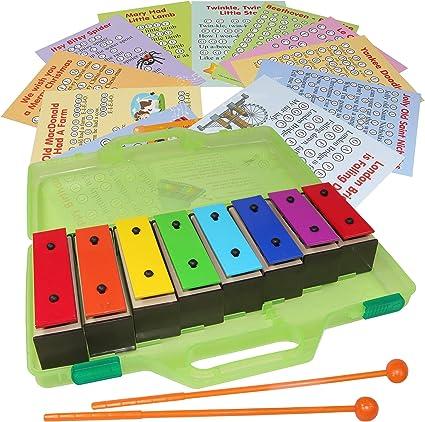 Resonator Bell Set para niños Color Glockenspiel Percussion 8 Note Bell Kit en un estuche con partituras tarjetas de música: Amazon.es: Instrumentos musicales