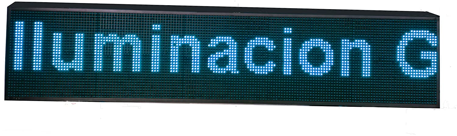 CARTEL LED PROGRAMABLE LETRERO LED PROGRAMABLE (160 * 32 cm, AZUL) PANTALLA LED PROGRAMABLE ROTULO LED PROGRAMABLE CARTEL ELECTRÓNICO ANUNCIA TU ...