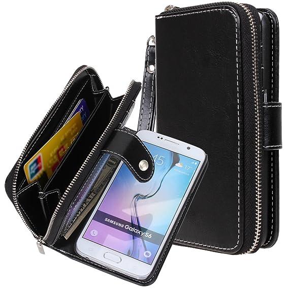 pretty nice e461c 8bcb3 Galaxy S6 case, S6 case, E LV Samsung Galaxy S6 - 2IN1 ( CASE CUM PURSE) PU  Leather flip Wallet Bag Pouch Case Cover For Samsung Galaxy S6 - PURSE ...