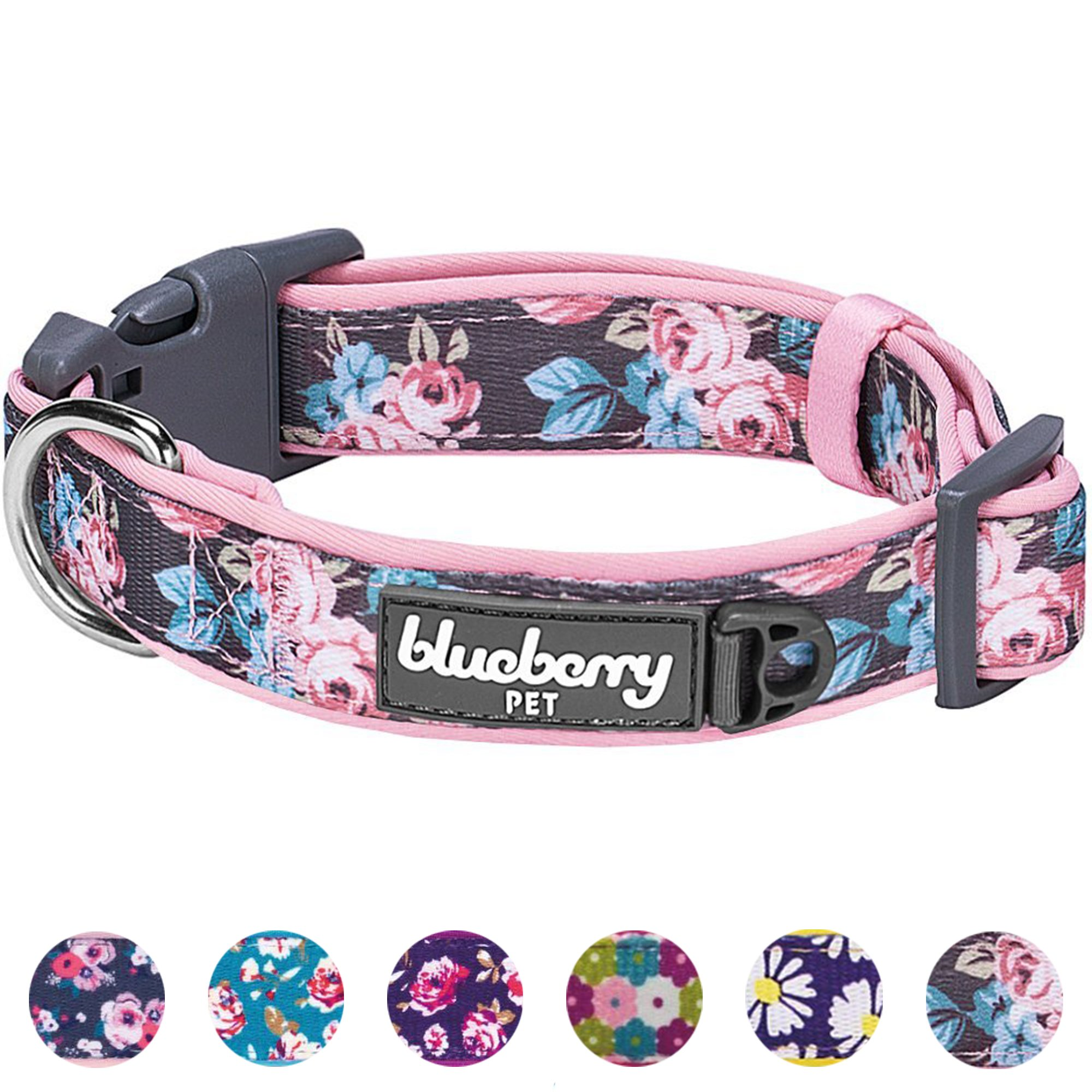 Blueberry Pet 6 Patterns Soft & Comfy Welcoming Spring Rose Flower Prints Girly Padded Dog Collar, Small, Neck 12''-16'', Adjustable Collars for Dogs