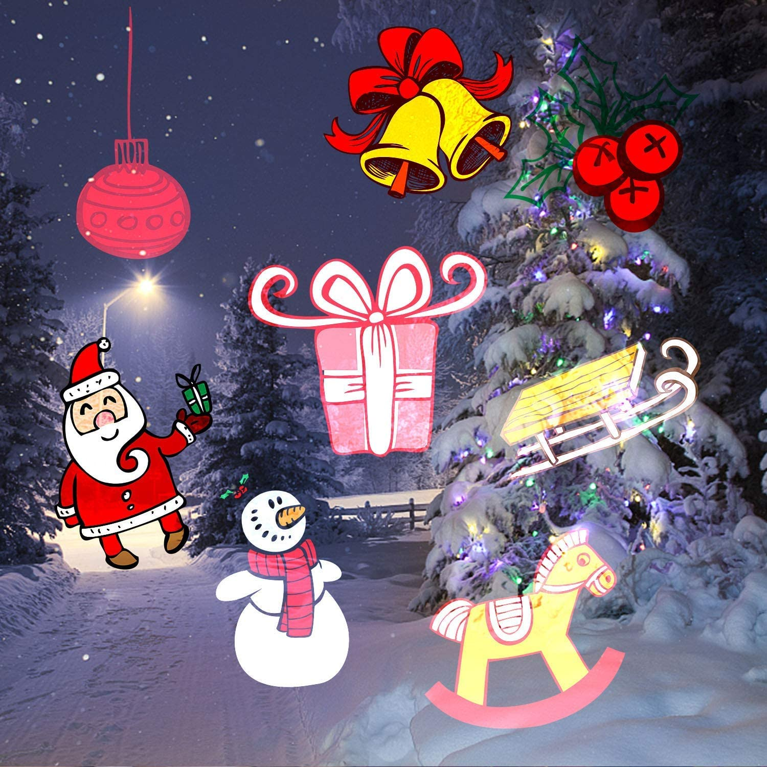 Christmas Light UNIFUN Kids Projector Flashlight Battery Operated Handheld Decoration Light for Christmas Party
