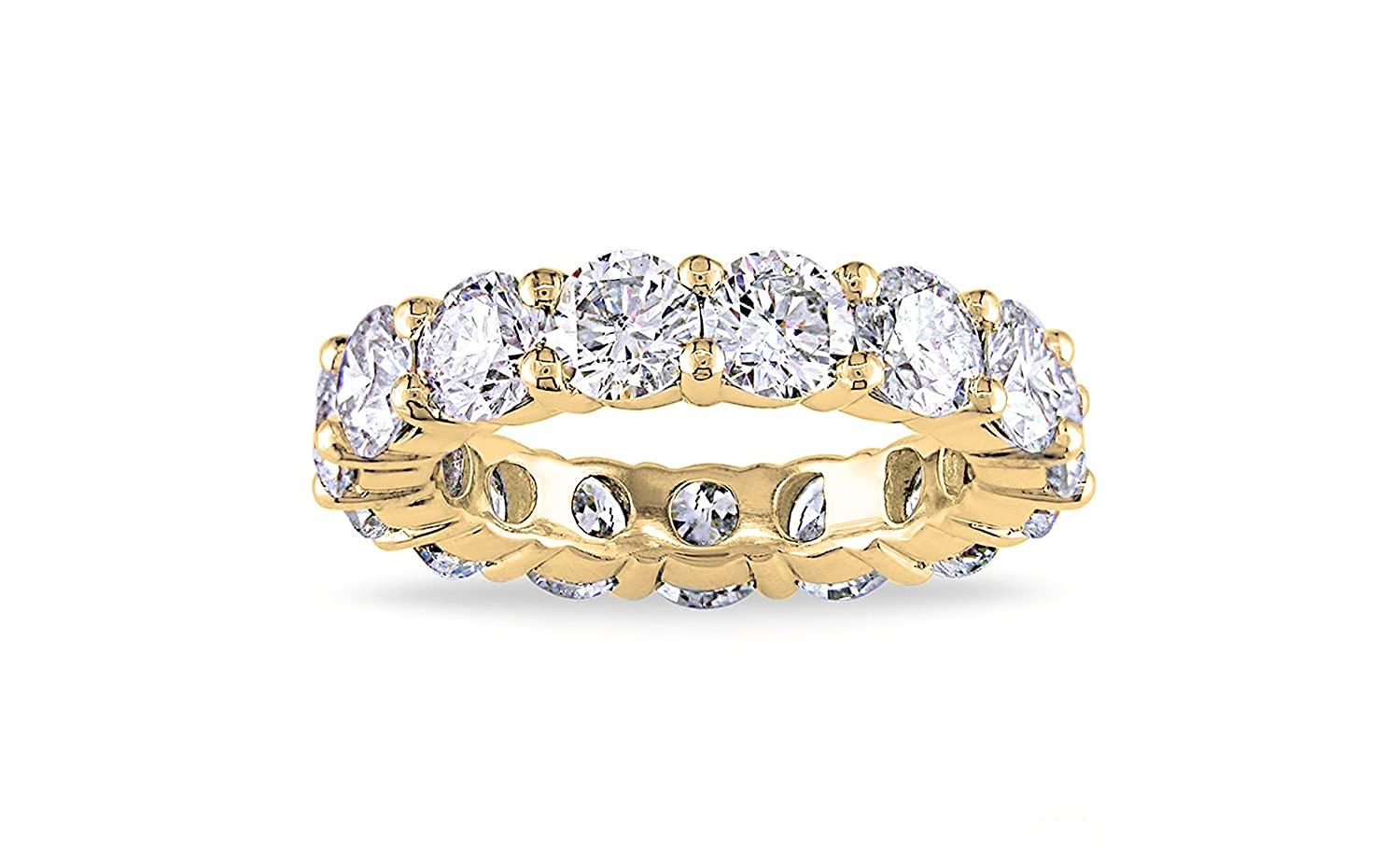 NYC Sterling 4MM Gold Cubic Zirconia Round Luxury Eternity Rings, Free Gift Box Included