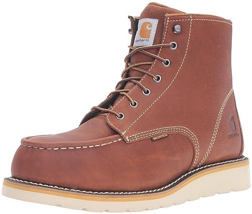 14e175741df Carhartt Men's CMW6275 6-Inch Waterproof Tan Wedge Steel Toe Work Boot
