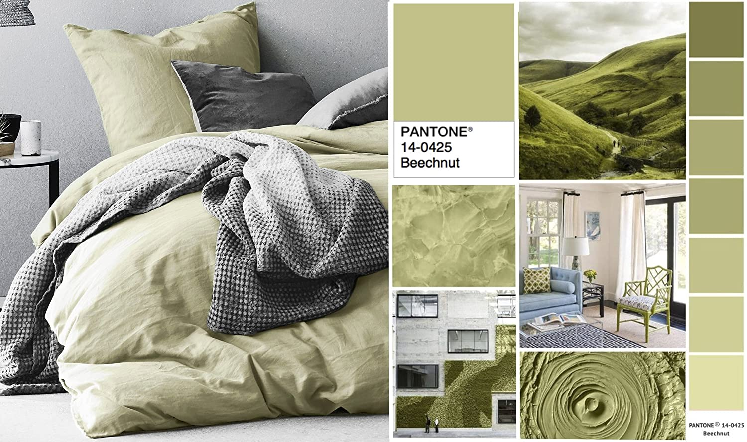 Eikei Washed Cotton Chambray Duvet Cover Solid Color Casual Modern Style Bedding Set Queen, Lime Olive