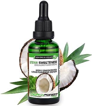 ALPHA POWER FOOD: Stevia líquida natural - Stevia Gotas de leche de coco, Edulcorante